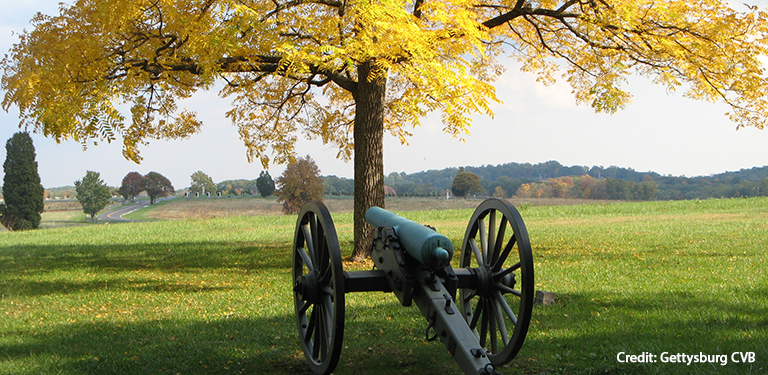 Cannon and Yellow Leaved Tree Credit Gettysburg CVB