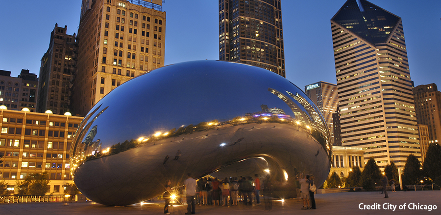 Cloud Gate at Millenium Park Credit City of Chicago