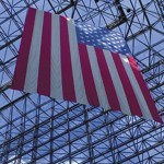 Flag hanging in JFK Library