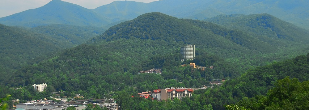 Gatlinburg Tennessee - An aerial view of Gatlinburg Tennessee, USA, nesled in the valley of the Smoky Mountains.