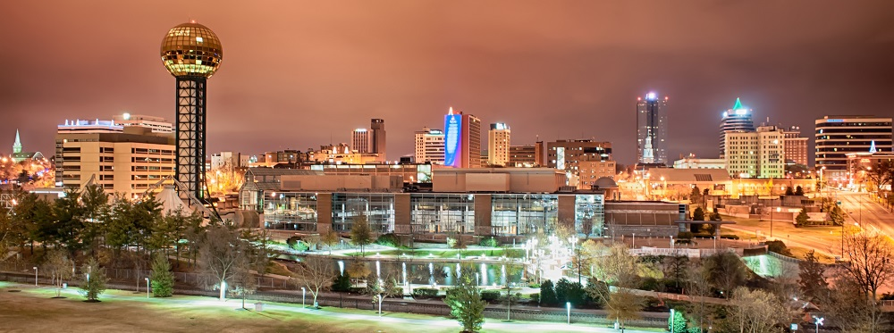 Knoxville Tennessee skyline at night