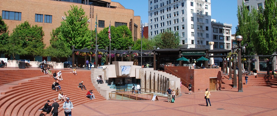 Pioneer Courthouse Square (Portland, Oregon). Looking northwest, showing the west half of the square.  Photo by Steve Morgan.