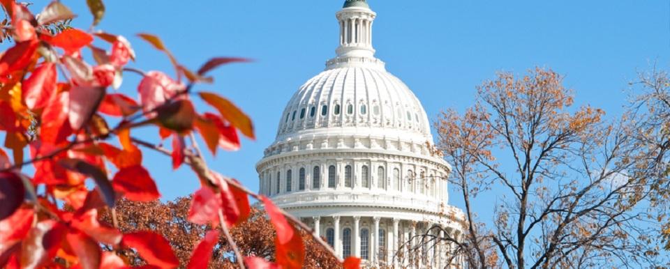 U.S. Capital building in Washington, DC in the fall.