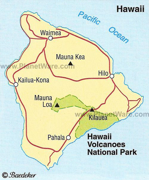 The area of Kilauea - 100 miles from Kailua-Kona Coast