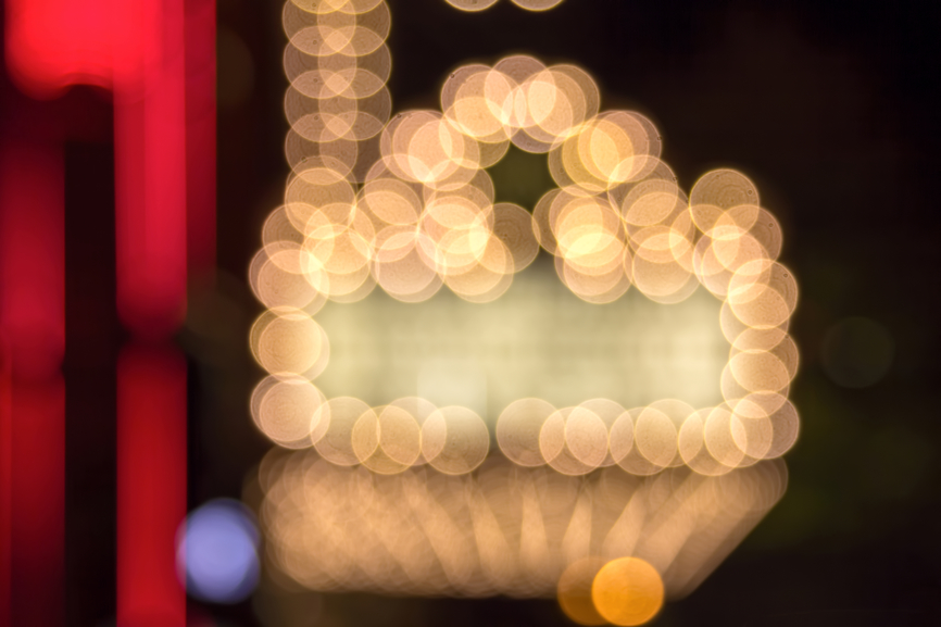 Marquee Lights on Broadway Theater Exterior Bokeh