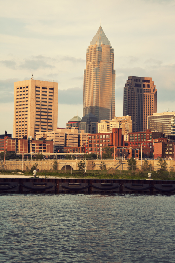 Downtown of Cleveland, Ohio seen during sunset
