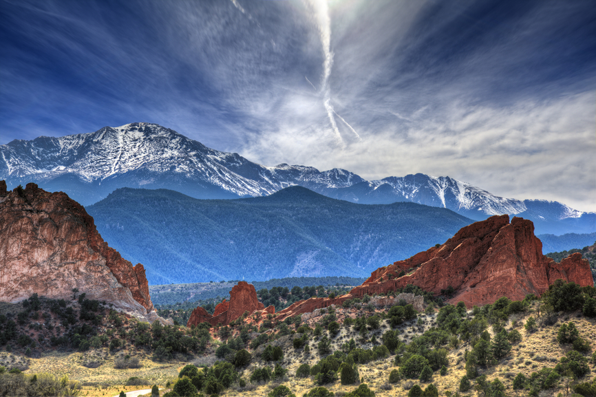 A High Dynamic Range photo of the Garden of the Gods park in Colorado Springs, Colorado with Pikes peak in the background.
